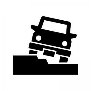 オフロードの道を走る4WD車の白黒シルエットイラスト