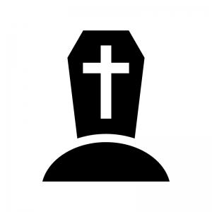 十字架のお墓の白黒シルエットイラスト