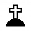 十字架のお墓の白黒シルエットイラスト02