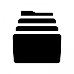 アーカイブフォルダの白黒シルエットイラスト