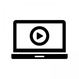 パソコンで動画再生の白黒シルエットイラスト