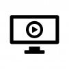 パソコンで動画再生の白黒シルエットイラスト02