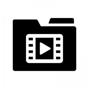 動画フォルダの白黒シルエットイラスト02