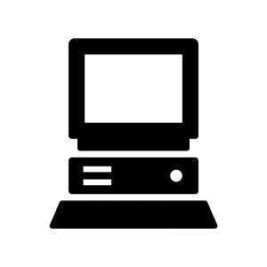 古いパソコンの白黒シルエットイラスト
