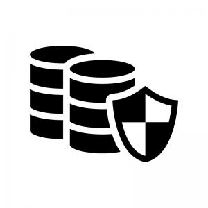 保護されたデータの白黒シルエットイラスト
