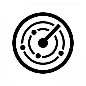 レーダーの白黒シルエットイラスト