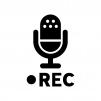 録音・レコーディングの白黒シルエットイラスト02