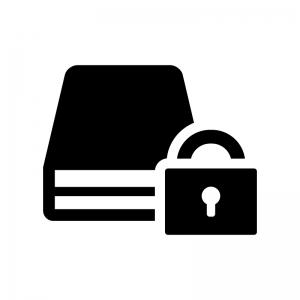 暗号化ディスクの白黒シルエットイラスト