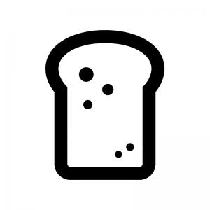 トーストの白黒シルエットイラスト