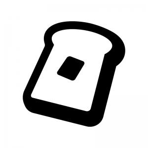 トーストの白黒シルエットイラスト02