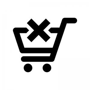 ショッピングカートから削除の白黒シルエットイラスト02