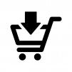ショッピングカートに入れる白黒シルエットイラスト02