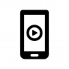 スマホで動画再生の白黒シルエットイラスト
