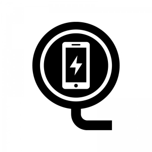 スマホのワイヤレス充電の白黒シルエットイラスト02