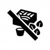 蕎麦NGの白黒シルエットイラスト