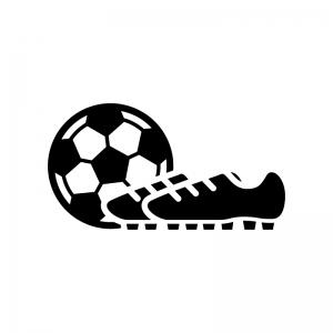 サッカーボールとスパイクシューズの白黒シルエットイラスト