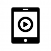 タブレットで動画再生の白黒シルエットイラスト