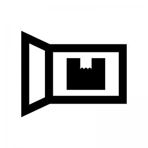 宅配ボックスの白黒シルエットイラスト02