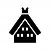 合掌造りの家の白黒シルエットイラスト
