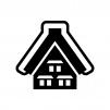 雪が積もった合掌造りの家の白黒シルエットイラスト