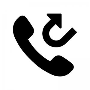 折り返し電話の白黒シルエットイラスト