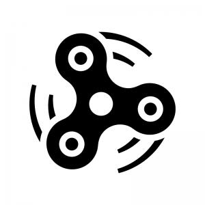 ハンドスピナーの白黒シルエットイラスト02