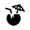 ココナッツジュースの白黒シルエットイラスト