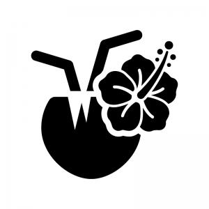 ココナッツジュースの白黒シルエットイラスト02