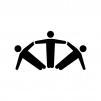 組体操の白黒シルエットイラスト02