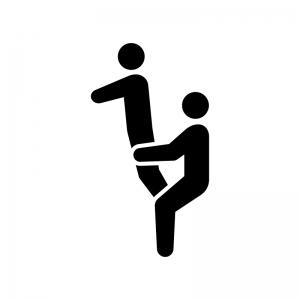 組体操の白黒シルエットイラスト03