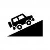 坂道を上る4WD車の白黒シルエットイラスト