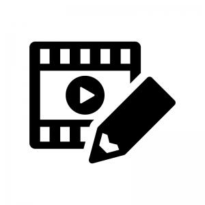 ビデオ編集の白黒シルエットイラスト