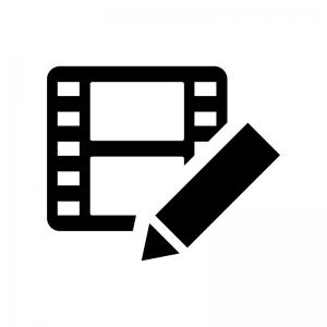 ビデオ編集の白黒シルエットイラスト02