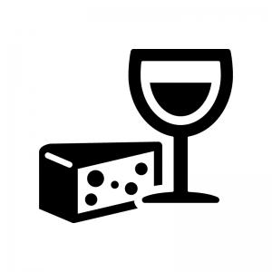 ワインとチーズの白黒シルエットイラスト