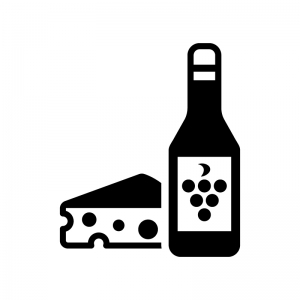 ワインとチーズの白黒シルエットイラスト02