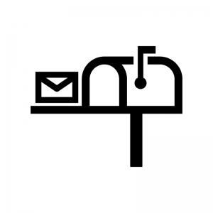 ポスト・郵便受けの白黒シルエットイラスト02