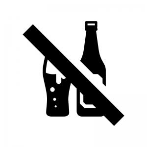 お酒類の禁止の白黒シルエットイラスト02