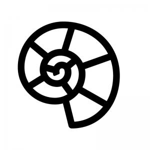 アンモナイトの白黒シルエットイラスト