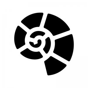 アンモナイトの白黒シルエットイラスト02