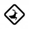 動物の飛び出しに注意の白黒シルエットイラスト02