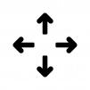 コンテンツの移動矢印の白黒シルエットイラスト