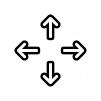コンテンツの移動矢印の白黒シルエットイラスト02