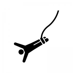 バンジージャンプの白黒シルエットイラスト02