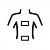 背中と腰に湿布の白黒シルエットイラスト