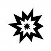 爆発の白黒シルエットイラスト02