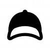 野球帽の白黒シルエットイラスト03