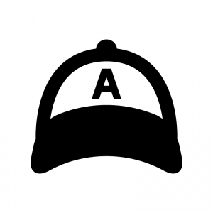 野球帽の白黒シルエットイラスト04