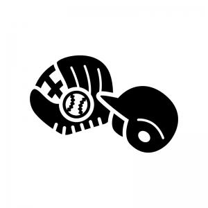 野球の白黒シルエットイラスト02