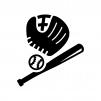 野球の白黒シルエットイラスト03