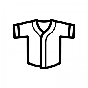 野球のユニフォームの白黒シルエットイラスト